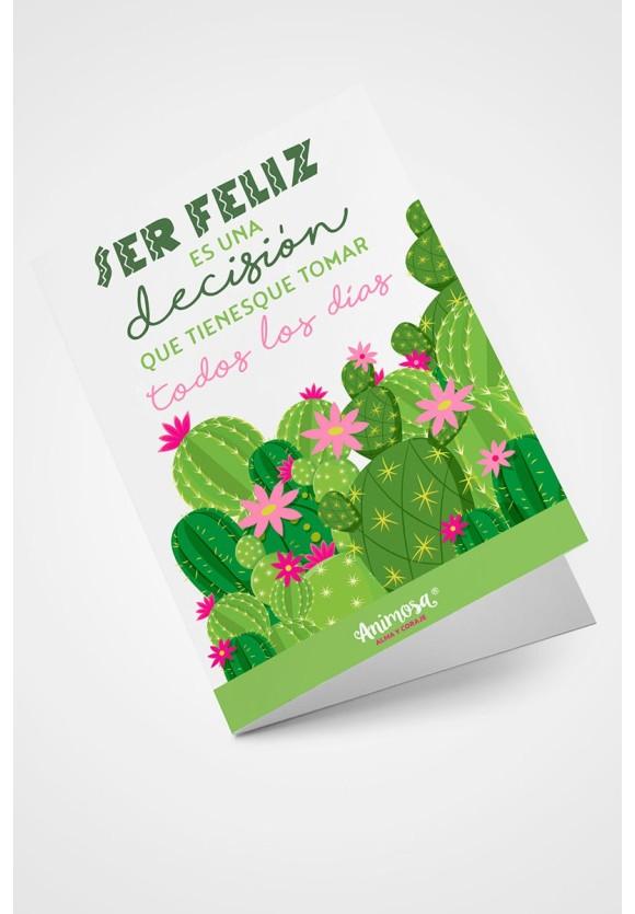 Tarjeta Cactus ser feliz